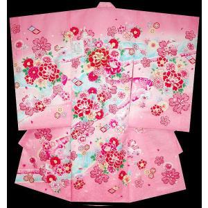 お宮参り 着物 初着 産着 女子の正絹産着 刺繍入り 牡丹柄ピンク フードセット付|kidskimonoyuuka