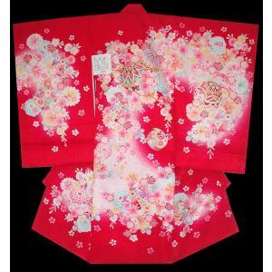 お宮参り 着物 初着 産着 女子の正絹産着 刺繍入り まりに風車柄赤日本製 フードセット付|kidskimonoyuuka