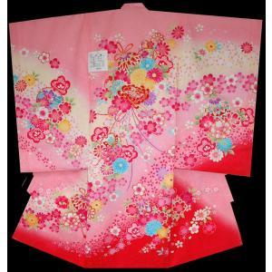 お宮参り 着物 初着 産着 女子の正絹産着 刺繍入り 鈴に乱菊柄 ピンク フードセット付|kidskimonoyuuka