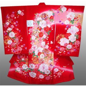 お宮参り 着物 初着 産着 女子の正絹産着 刺繍入り 鈴に牡丹柄 赤 フードセット付|kidskimonoyuuka