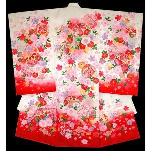 お宮参り着物 初着 女児の正絹産着 マリにさくら柄白赤 刺繍入り 日本製 フードセット付|kidskimonoyuuka