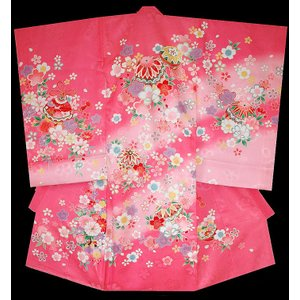お宮参り着物 初着 産着 女児の正絹産着 まりに桜柄  日本製 ピンク フードセット付|kidskimonoyuuka