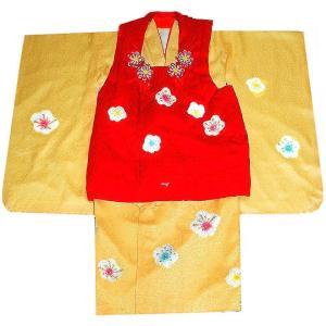 七五三着物 3歳 正絹  753 被布セット 手絞り&手描染 梅花柄 日本製赤xクリーム|kidskimonoyuuka