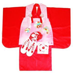 七五三着物 3歳着物 753 被布セット 正絹金彩柄オシドリ赤日本製|kidskimonoyuuka