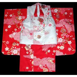 七五三 着物  3歳 着物 753 被布セット 桜に鈴柄紅白 |kidskimonoyuuka
