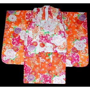 七五三 着物  3歳 着物 753 被布セット 菊に牡丹柄オレンジX白 |kidskimonoyuuka