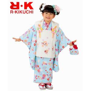 七五三着物 753 被布セット 3歳着物 ブランドキクチリョウコ ブルー15|kidskimonoyuuka