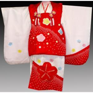 七五三着物 3歳 正絹着物 753 被布セット 手絞り&手描き、刺繍入り 梅赤X白日本製|kidskimonoyuuka