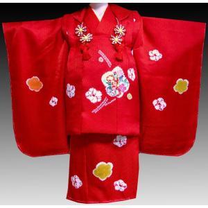 七五三着物 3歳着物 753 被布セット 正絹手描き、手絞り柄 桜赤日本製|kidskimonoyuuka
