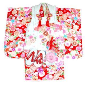 七五三着物 3歳着物 753 被布セット 正絹手絞り&手描き、刺繍柄 花車赤日本製|kidskimonoyuuka