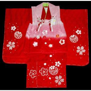 七五三着物 3歳着物 753 被布セット 正絹手絞り&手描き、刺繍柄 桜とマリ赤日本製|kidskimonoyuuka
