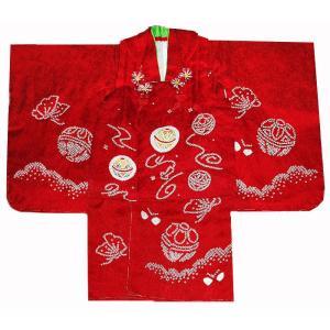 七五三着物 3歳着物 753 被布セット 正絹手絞り&手描友禅柄 マリ赤 日本製|kidskimonoyuuka