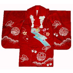 七五三着物 3歳着物 753 被布セット 正絹手絞り&手描友禅柄 流水にまり赤 日本製|kidskimonoyuuka