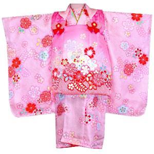 七五三着物 女児の七五三 753 正絹被布セット  KAWAIINA 藤下がりに桜ピンク|kidskimonoyuuka