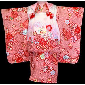 七五三着物 女児の七五三 753 正絹被布セット  KAWAIINA 藤下がりに桜赤X白|kidskimonoyuuka