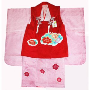 七五三着物 3歳着物 753 被布セット 正絹手描染&手絞り 牡丹柄 日本製|kidskimonoyuuka