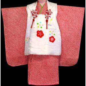 七五三着物 3歳着物 753 被布セット 正絹総手絞り赤X白 日本製|kidskimonoyuuka