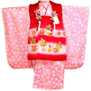 七五三着物 3歳着物 753 被布セット 正絹手描染 鈴柄 赤Xピンク 日本製|kidskimonoyuuka