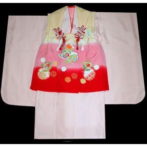 七五三着物 3歳着物 753 被布セット 正絹手描染 雪輪柄 日本製|kidskimonoyuuka