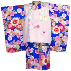 日本製 牡丹に菊柄被布セット  着物、長襦袢、被布コート草履、 巾着、髪飾り、足袋 重ね襟、 取り付...