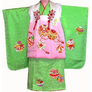 七五三着物 3歳着物 753 被布セット 正絹手描染 まり柄緑 日本製|kidskimonoyuuka