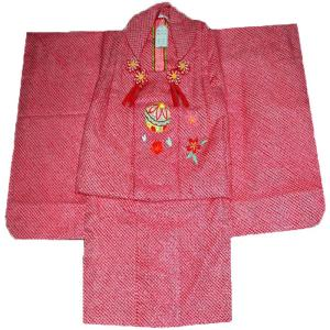 七五三着物  3歳正絹 被布セット 正絹総手絞り赤|kidskimonoyuuka