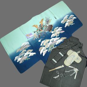 七五三着物  753 歳高級正絹手描き友禅羽織 正絹袴のフルセット 兜に松日本製|kidskimonoyuuka