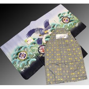 七五三 5歳 着物 羽織 袴 男児着物 花ウサギ羽織袴のフルセット4|kidskimonoyuuka