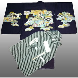 七五三着物 男児着物 5歳高級正絹 手描き友禅 羽織袴のフルセット 小槌柄紺紫 日本製|kidskimonoyuuka