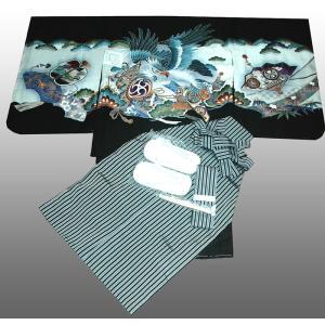 七五三着物 男児着物 5歳高級正絹羽織 袴のフルセット 鷹に太鼓黒|kidskimonoyuuka