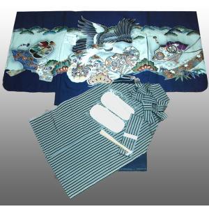 七五三着物 男児着物 5歳高級正絹羽織 袴のフルセット 鷹に小鼓柄紺|kidskimonoyuuka