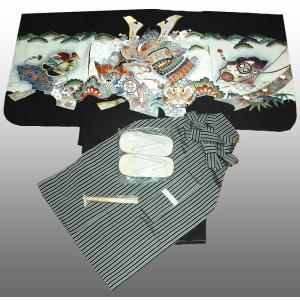 七五三着物 男児着物 5歳高級正絹羽織 袴のフルセット 兜に扇面柄黒|kidskimonoyuuka