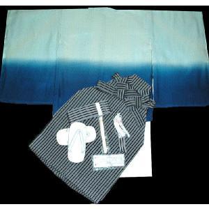 七五三着物 男児着物 5歳高級正絹羽織 袴のフルセット 紋付黄緑X青日本製|kidskimonoyuuka