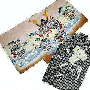七五三着物  5歳高級正絹羽織 正絹袴のフルセット 兜柄薄茶色 日本製|kidskimonoyuuka