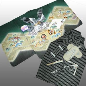 七五三着物 男児着物 5歳高級正絹羽織 正絹袴のフルセット 鷹小鼓柄グリーン日本製|kidskimonoyuuka
