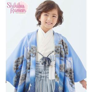 式部浪漫 着物 753 男児着物 5歳羽織 袴のフルセット 式部浪漫 2018年 SR-5 緑X青 kidskimonoyuuka