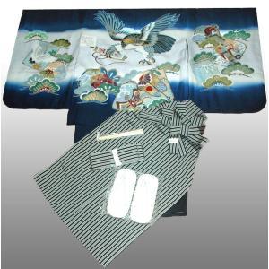 七五三着物 男児着物 5歳高級正絹羽織 袴のフルセット 鷹に巻物紺|kidskimonoyuuka