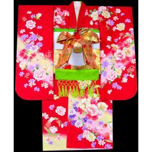 七五三着物 753 7歳着物22点 フルセット FROM KYOTO刺繍入り 薔薇柄赤|kidskimonoyuuka