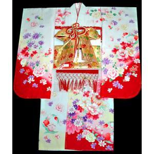 七五三着物 753 7歳着物22点 フルセット FROM KYOTO刺繍入り 牡丹柄白 kidskimonoyuuka