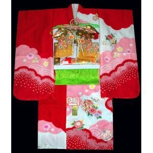 七五三 着物  7歳着物 753 七歳 女子 正絹 フルセット 手絞り 手描き友禅  刺繍マリに花柄 赤ピンク 日本製|kidskimonoyuuka