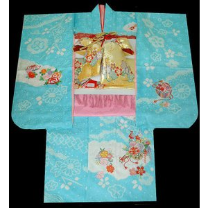 七五三 着物 7歳正絹着物フルセット 七歳着物  753  正絹20点フルセット 手絞り&刺繍花車と桜柄 水色|kidskimonoyuuka