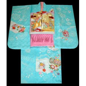 七五三 着物  7歳正絹着物フルセット 七歳着物  753 女の子 正絹20点フルセット 手絞り&刺繍まりと牡丹柄 水色|kidskimonoyuuka