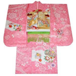 七五三 着物 7歳正絹着物フルセット 七歳着物 753  20点フルセット 手絞り&刺繍まりと牡丹柄 ピンク|kidskimonoyuuka