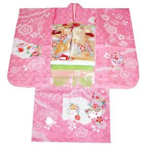 七五三 着物  7歳正絹着物フルセット 七歳着物 753 20点正絹フルセット 手絞り&刺繍花車と桜柄 ピンク|kidskimonoyuuka