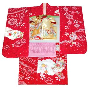 七五三 着物 7歳正絹着物フルセット 七歳着物  753  正絹20点フルセット 手絞り&刺繍 花車と桜柄 赤|kidskimonoyuuka
