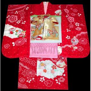 七五三 着物 7歳正絹着物フルセット 七歳着物  753  正絹20点フルセット 手絞り&刺繍 鈴と桜柄 赤|kidskimonoyuuka