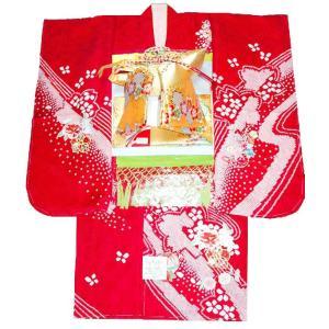 七五三 着物 7歳 正絹 フルセット 七歳着物  753  20点 手絞りと刺繍牡丹柄赤|kidskimonoyuuka