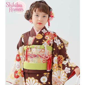 式部浪漫 七五三 着物 7歳着物 22点フルセット2018年 絵羽柄4ピンク|kidskimonoyuuka