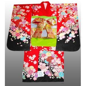 七五三着物  七歳着物 7歳着物 753 女子の正絹振袖フルセット  乱菊柄赤X黒|kidskimonoyuuka