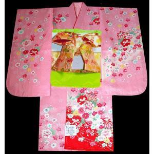 七五三 着物 7歳正絹着物フルセット 七歳着物  753  正絹20点フルセット  まりに牡丹柄ピンク日本製|kidskimonoyuuka